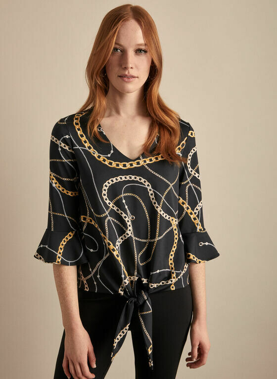 Frank Lyman Chain Motif Top in Black, Gold and White