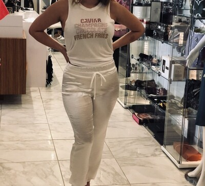 Jackie Z Sateen Jogger in White