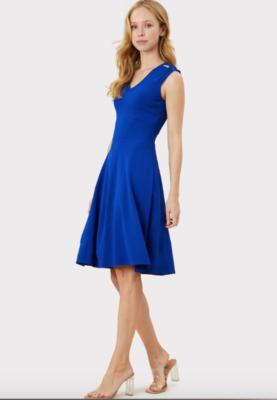 Milly Peek-a-Boo Shoulder Dress in Cobalt