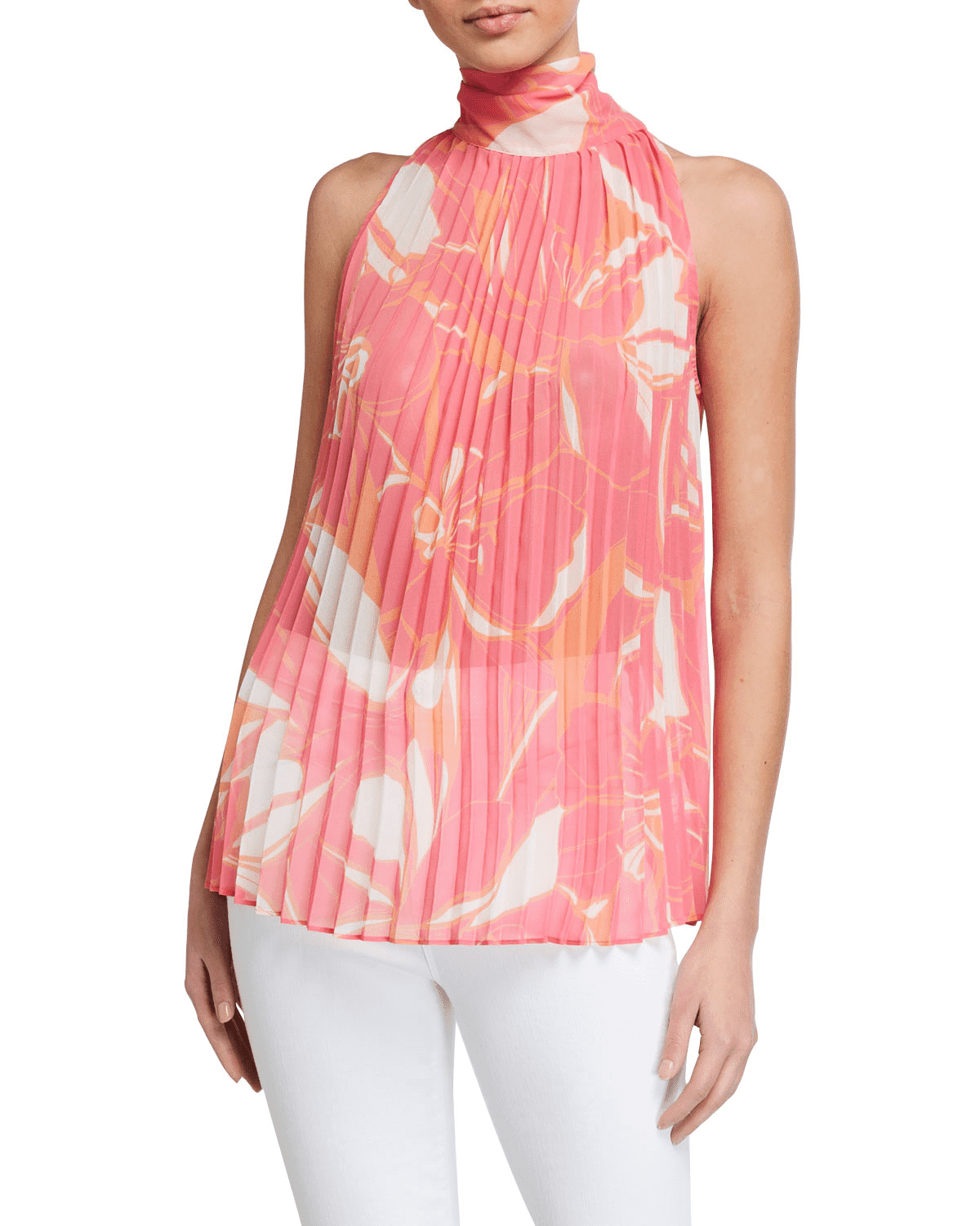 Milly Brook Stencil Floral Print Pleated High-Neck Top