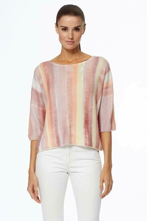 360 Cashmere Capella Pastel Striped Sweater