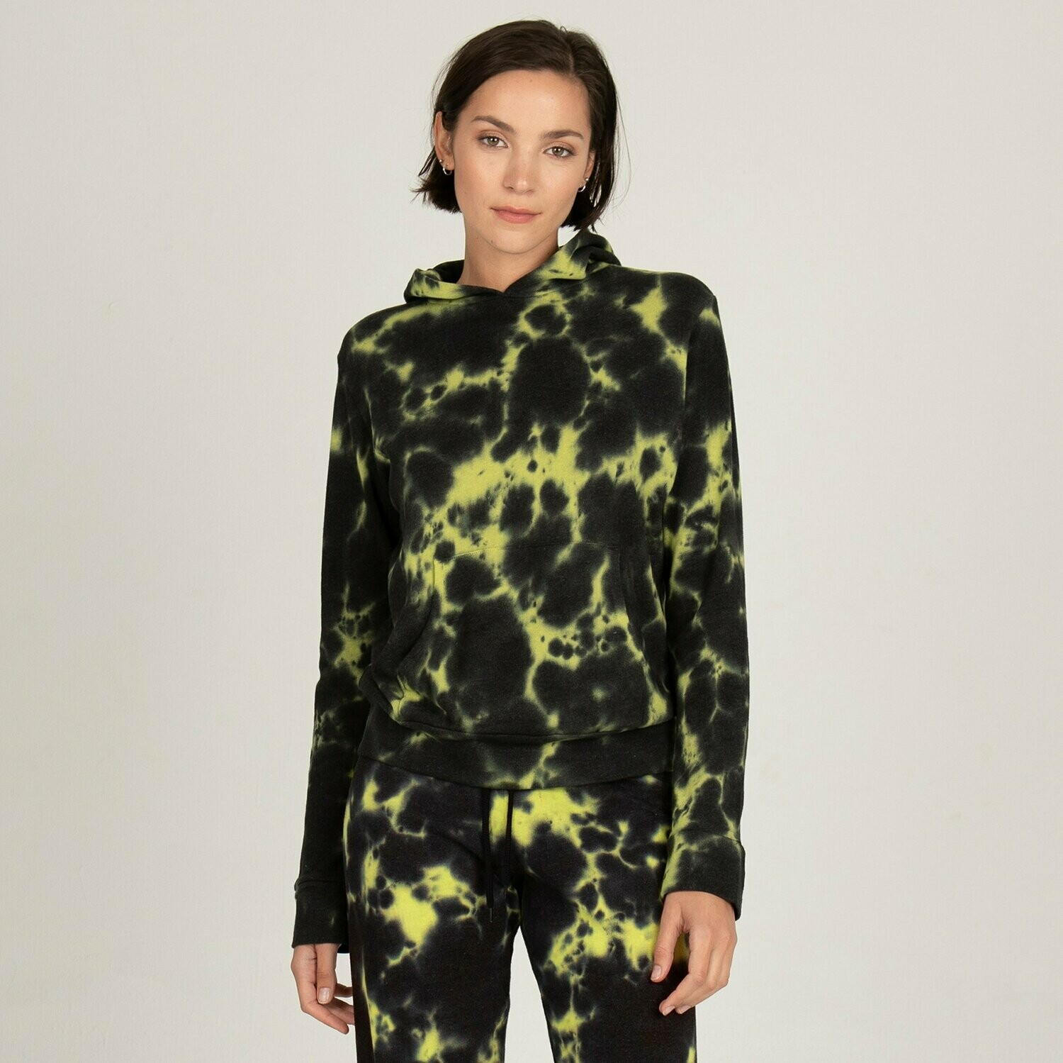 Monrow Black Out Tie Dye Pullover Hoody