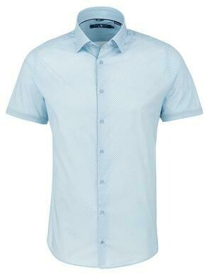 Stone RoseLight Blue Geometric Print Short Sleeve Shirt