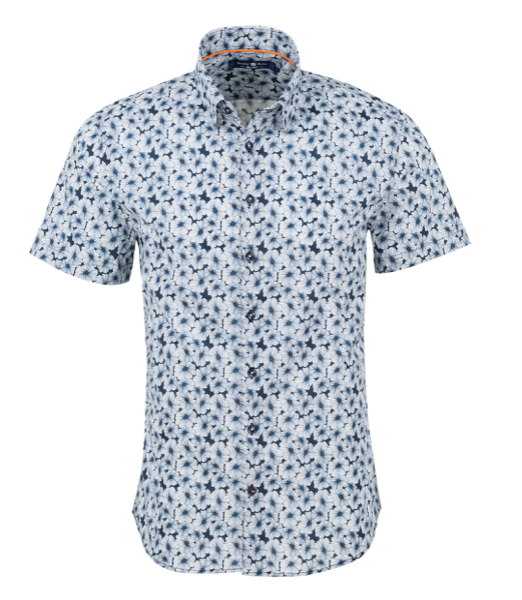 Stone Rose Navy Floral Print Short Sleeve Shirt