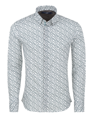 Stone Rose White Novelty Print Long Sleeve Shirt