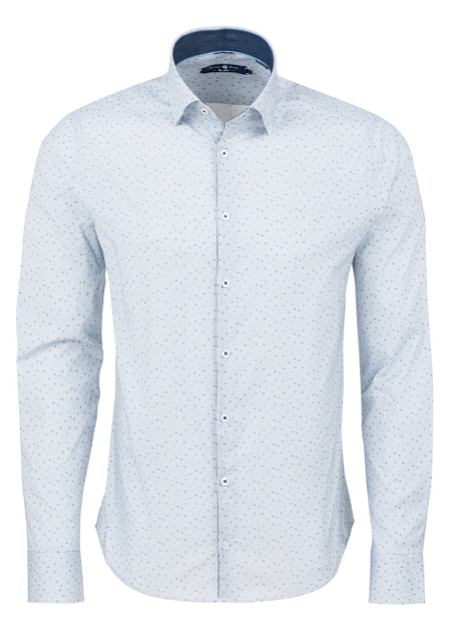 Stone Rose Blue Stripe Print Long Sleeve Shirt