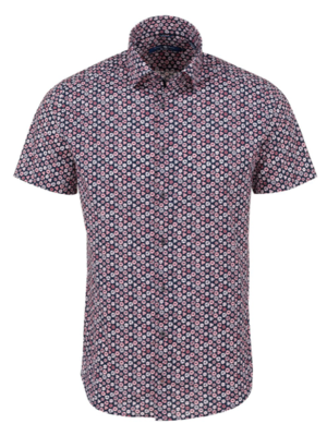 Stone Rose Pink Geometric Print Short Sleeve Shirt