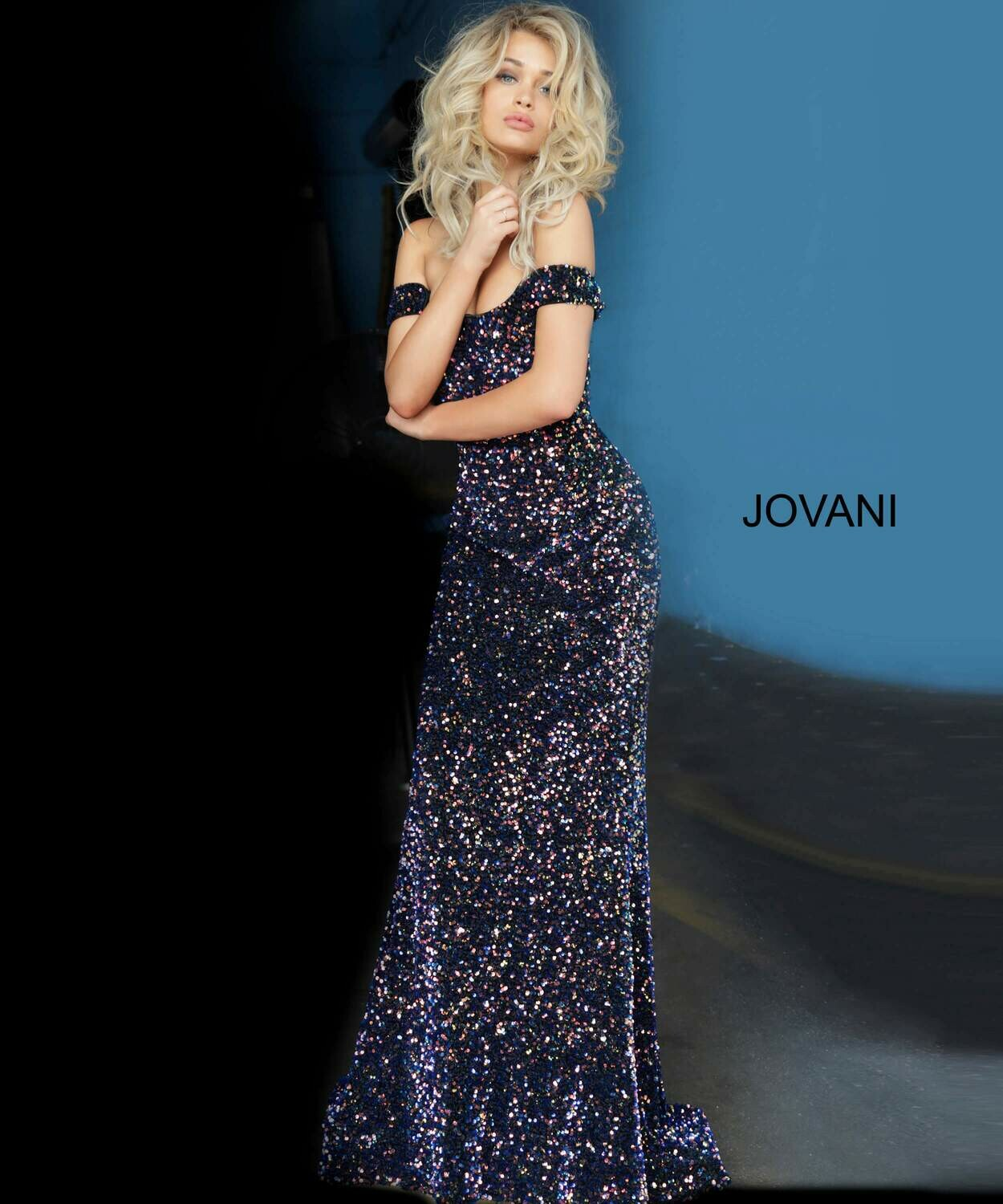 Jovani Off-The-Shoulder Sequin Gown in Multi-Colors