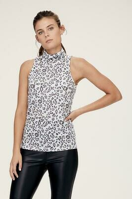 David Lerner Tori Sleeveless Turtleneck in Painted Leopard