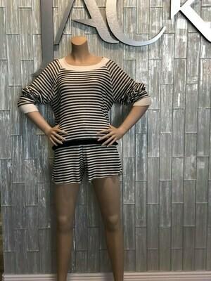 Jackie Z L/S Striped Shirt In Black/White