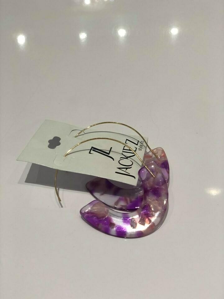Jackie Z Semi-Circle Tortoise Shell Earrings In Pink