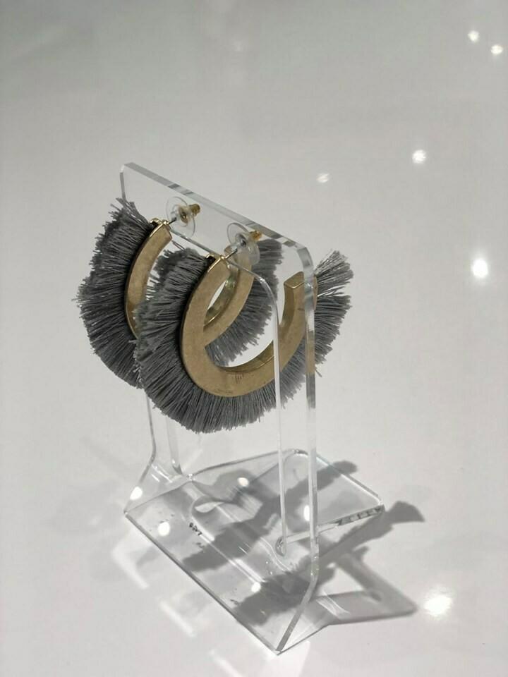 Jackie Z Fringe Earrings In Grey
