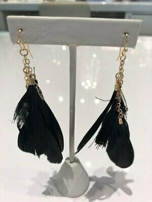 Jackie Z Feather Drop Earrings In Black