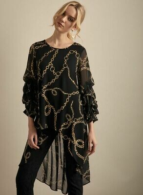 Frank Lyman Chain Motif Tunic in Black