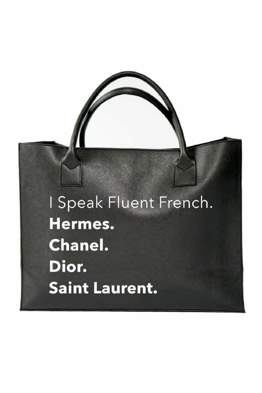 LA Trading Company Fluent French Black Vegan Tote Bag