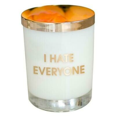 Chez Gagne'  I Hate Everyone Candle In a Gold Foil Rocks Glass
