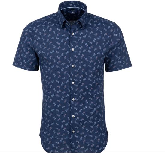 Stone Rose Navy Lizard Print Short Sleeve Shirt