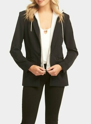 Tart Collections Save Dickey Jacket ib Black with Heather Grey Removable Hood