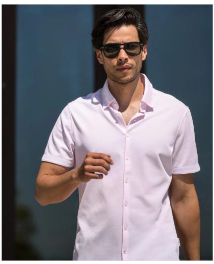 Stone Rose Pink Textured Knit Performance Short Sleeve Shirt