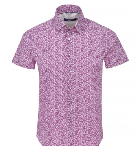 Stone Rose Berry Leaf Print Short Sleeve Shirt
