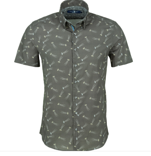 Stone Rose Grey Jelly Fish Print Short Sleeve Shirt