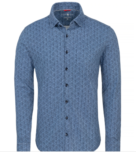 Stone Rose Navy Square Knit Long Sleeve Shirt