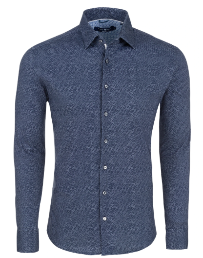Stone Rose  Navy Daisy Print Long Sleeve Shirt