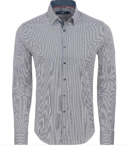Stone Rose Navy Stripe Print Long Sleeve Shirt