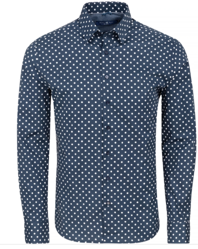 Stone Rose Navy Polka Dot Print Long Sleeve Shirt