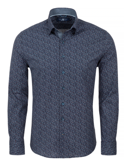 Stone Rose Navy Ditsy Print Knit Long Sleeve Shirt