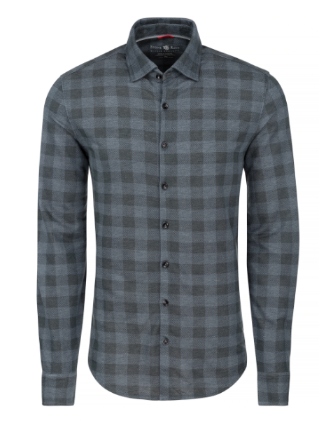 Stone Rose Navy Check Knit Performance Long Sleeve Shirt