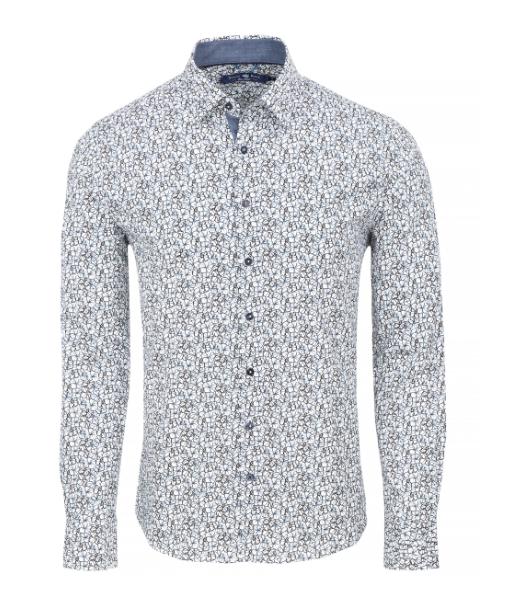 Stone Rose White Floral Print Long Sleeve Shirt