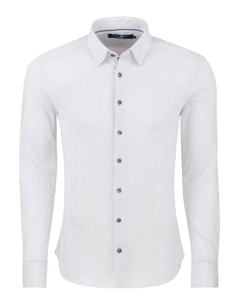 Stone Rose Light Grey Texture Knit Long Sleeve Shirt