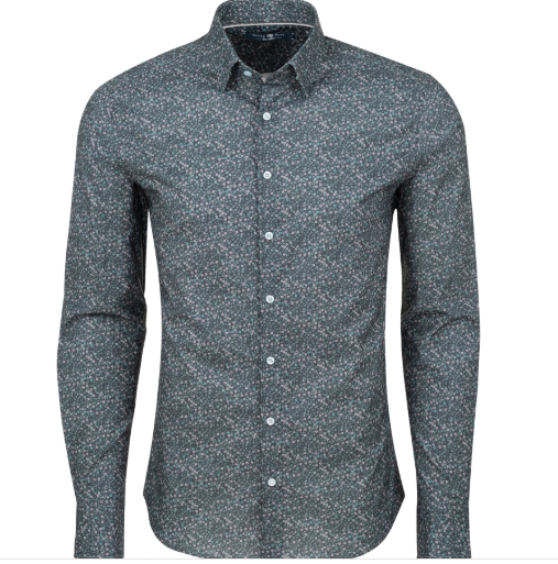 Stone Rose Grey Ditsy Print Knit Long Sleeve Shirt
