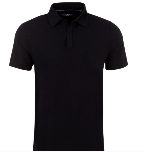 Stone Rose Black Micro Modal Button-less Polo