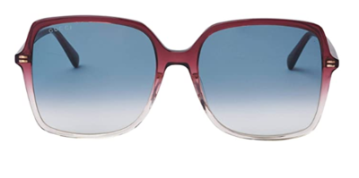 Gucci Red Square Acetate Sunglasses With Grey Lenses