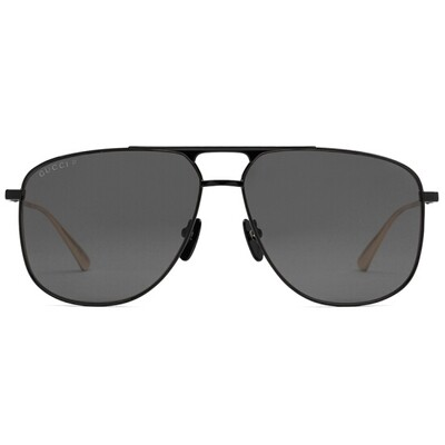 Gucci Men's Black Polarized Aviator Sunglasses With Grey Lens