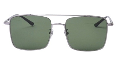 Gucci Men's Square Ruthenium Black and Silver Aviators With Green Lens