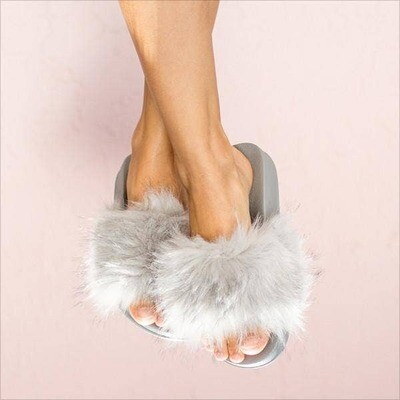 Face Plant Dreams Grey Fuzzy Slippers