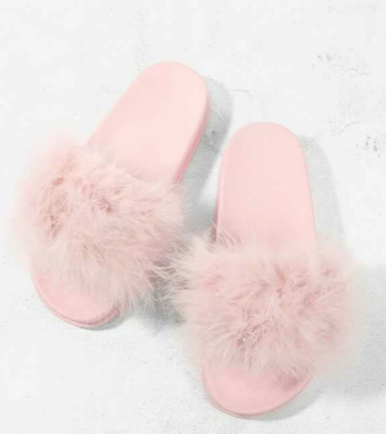 Face Plant Dreams Pink Fuzzy Slippers