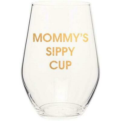 Chez Gagne` Mommy's Sippy Cup Gold Foil Stemless Wine Glass