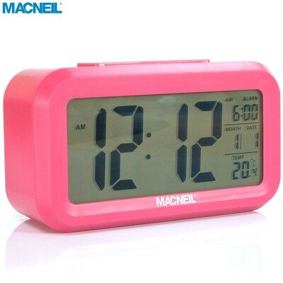 Temperature Day LCD Back-light via Command or Gentle Tap Battery Powered Year MacNeil NEW MCN8082S Alarm Clock Features: Time Musical Alarm Date Large Easy to Read Display Indoors Snooze