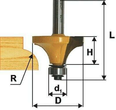 Фреза кромочная калёвочная d 17 х 8 мм, r 2,4  хвостовик 8 мм