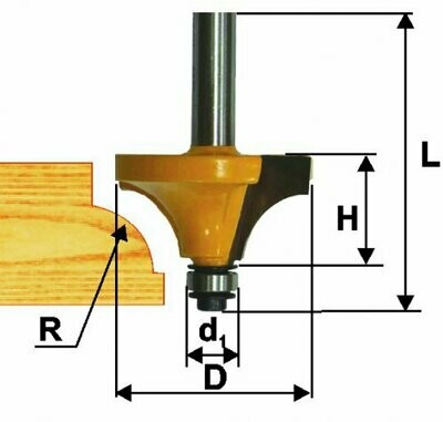 Фреза кромочная калёвочная d 25,4 х 13 мм, r 6,3  хвостовик 8 мм