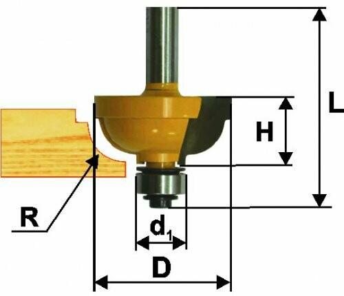 Фреза кромочная калёвочная d 31,8 х 15 мм, r 7,9  хвостовик 8 мм