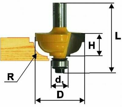 Фреза кромочная калёвочная d 28,6 х 14 мм, r 6,35  хвостовик 8 мм