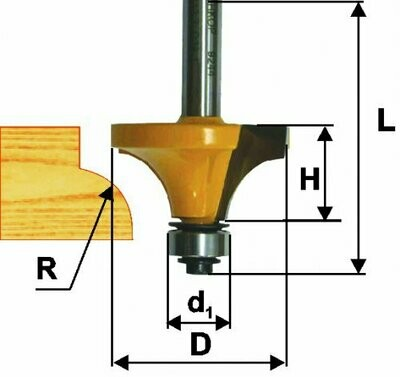 Фреза кромочная калёвочная d 28,6 х 15,5 мм, r 8,0  хвостовик 8 мм
