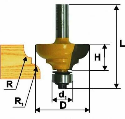 Фреза кромочная калёвочная d 33,3 х 16 мм, r 6,4  хвостовик 8 мм