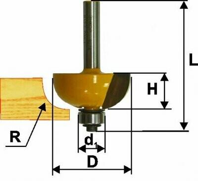 Фреза кромочная калёвочная d 38,1 х 16 мм, r 6,35  хвостовик 8 мм