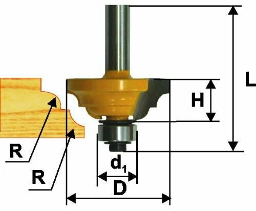 Фреза кромочная калёвочная d 42,8 х 19 мм, r 6,35  хвостовик 8 мм